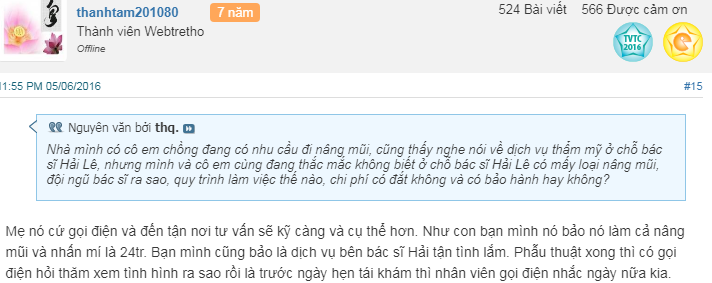 Rất nhiều chị em đã tin tưởng và lựa chọn Dr.Hải Lê